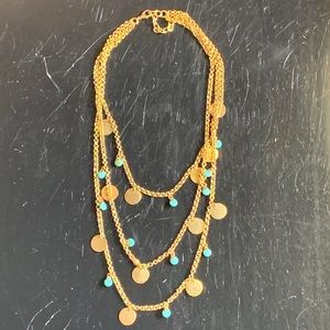 nOir Multi Necklace with Gold and Turquiose